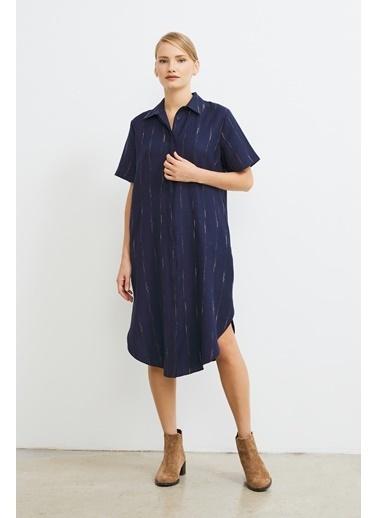 Love My Body Çizgi Desenli Gömlek Elbise Lacivert